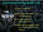 communicating with cjd