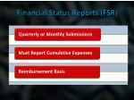 financial status reports fsr