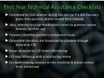 first year technical assistance checklists