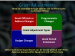 grant adjustments