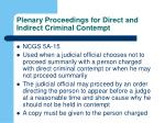 plenary proceedings for direct and indirect criminal contempt
