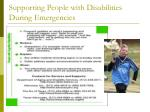 supporting people with disabilities during emergencies33