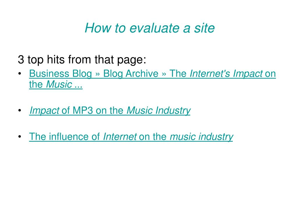 How to evaluate a site