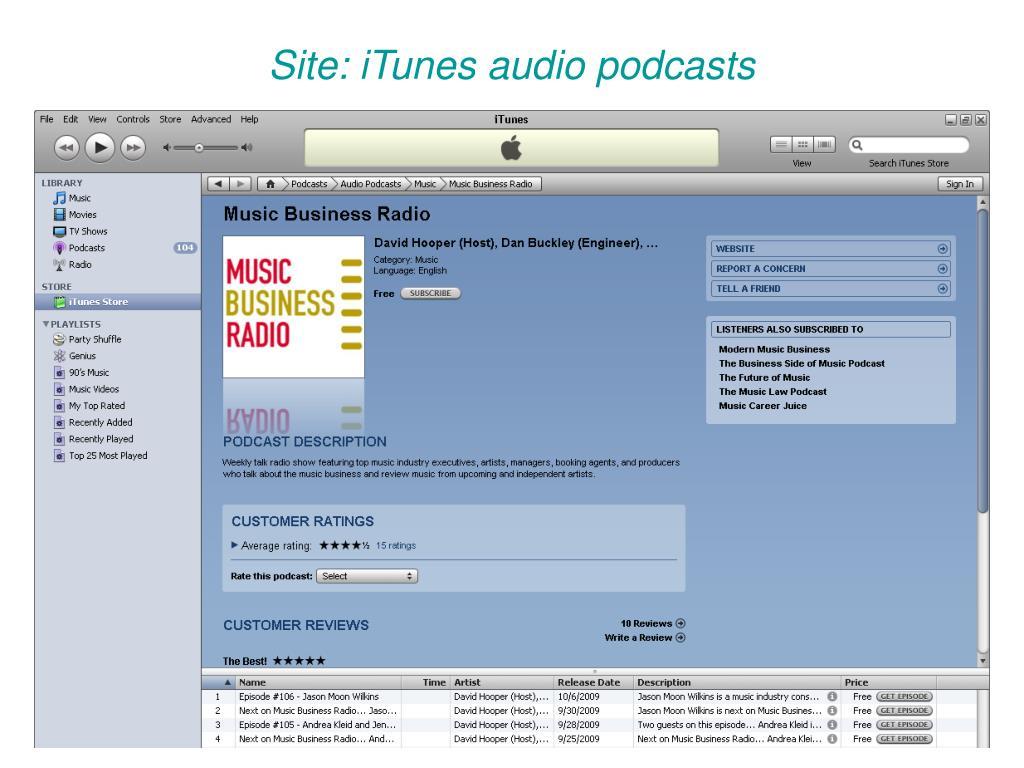 Site: iTunes audio podcasts