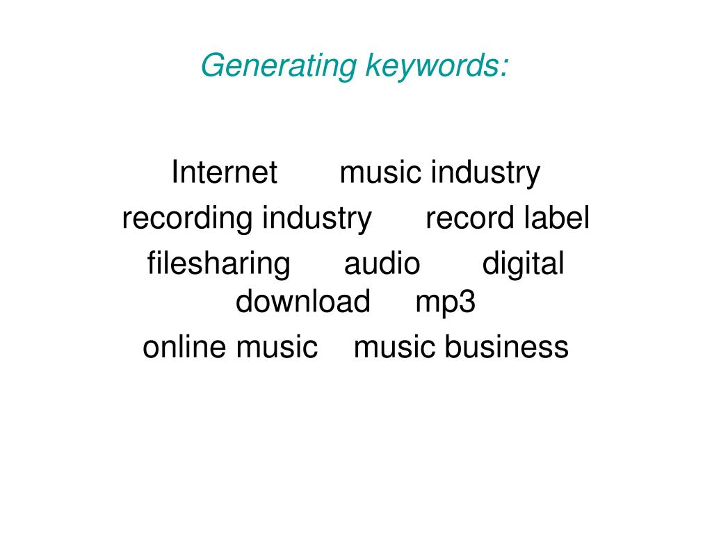 Generating keywords: