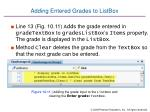adding entered grades to listbox