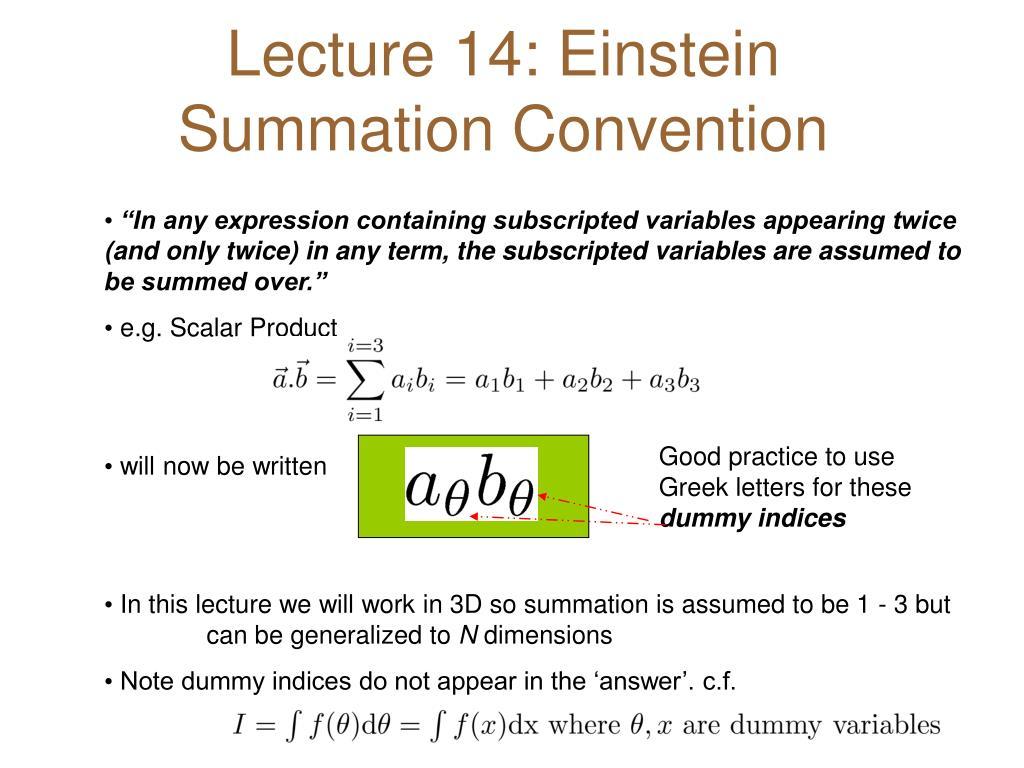 lecture 14 einstein summation convention l.