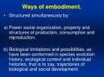 ways of embodiment