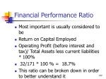 financial performance ratio