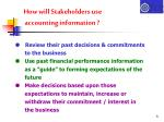 how will stakeholders use accounting information