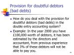 provision for doubtful debtors bad debts78