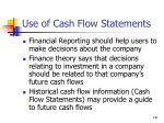use of cash flow statements