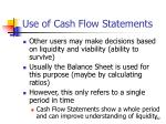 use of cash flow statements142