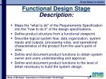 functional design stage description