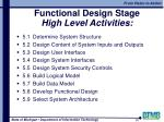functional design stage high level activities