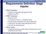 requirements definition stage inputs