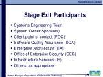 stage exit participants