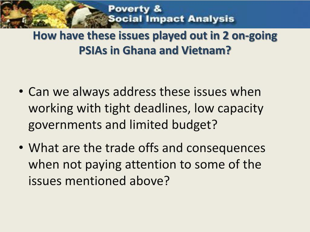 How have these issues played out in 2 on-going PSIAs in Ghana and Vietnam?