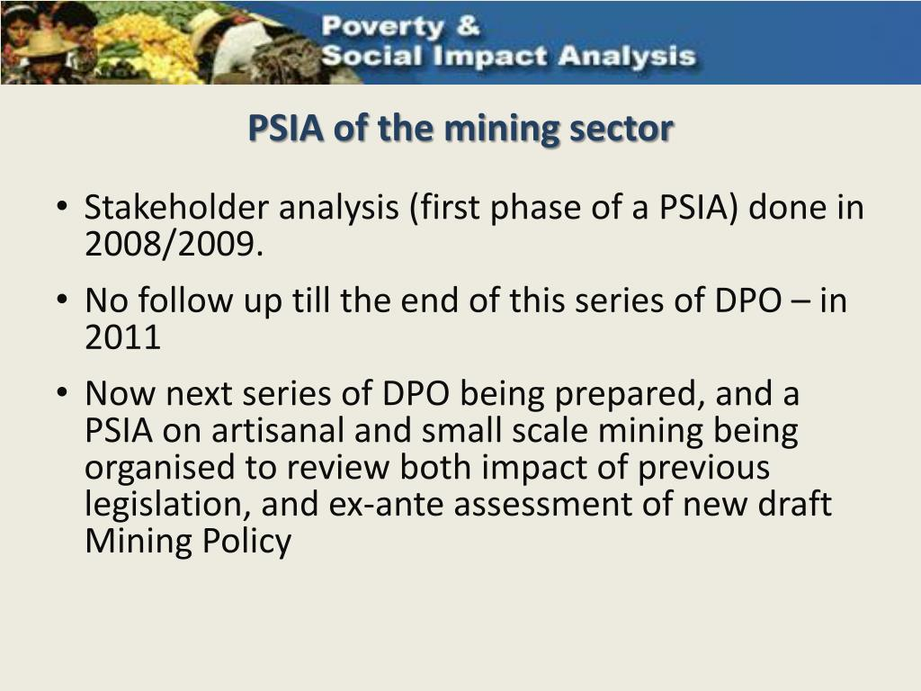 PSIA of the mining sector