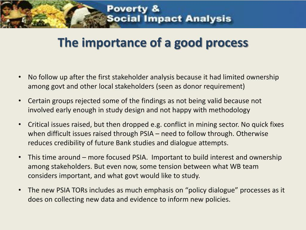 The importance of a good process