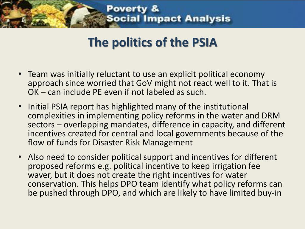 The politics of the PSIA