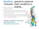 headlines geared to seasonal forecasts major conditions or events