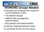 working groups needed