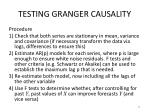 testing granger causality