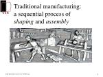 traditional manufacturing a sequential process of shaping and assembly