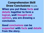 comprehension skill draw conclusions te 629b6