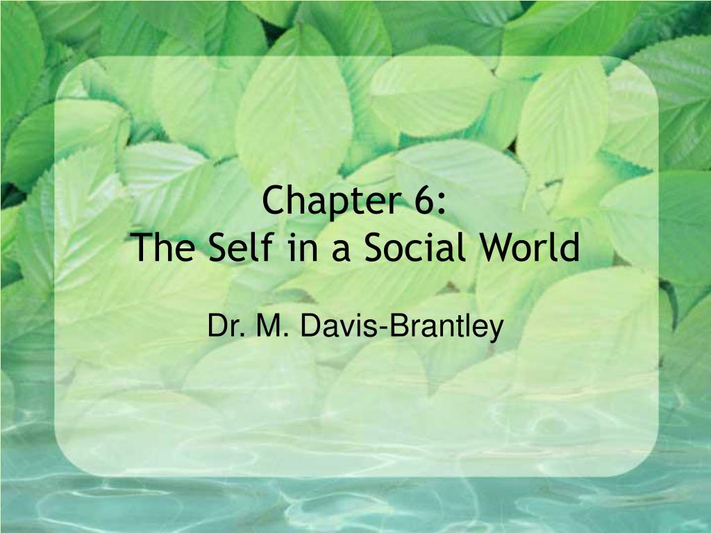 chapter 6 the self in a social world l.