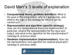 david marr s 3 levels of explanation