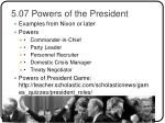 5 07 powers of the president