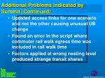additional problems indicated by summit continued