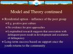 model and theory continued