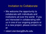 invitation to collaborate