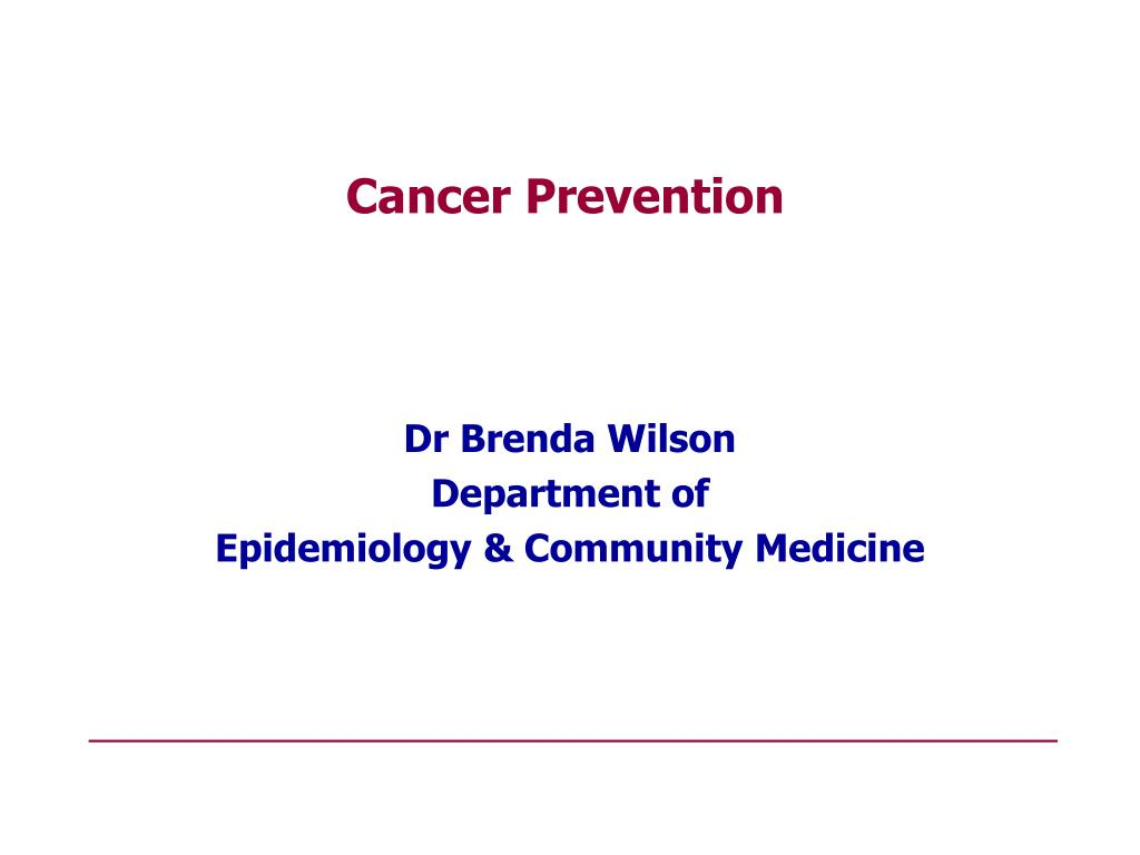 dr brenda wilson department of epidemiology community medicine l.