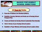 basics for sunday school directors