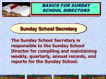 sunday school secretary