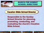 vacation bible school director