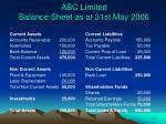 abc limited balance sheet as at 31st may 2006