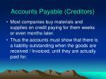 accounts payable creditors
