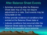 after balance sheet events