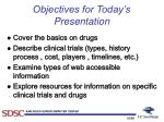 objectives for today s presentation