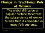 change in traditional role of women