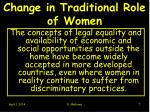 change in traditional role of women7