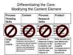 differentiating the core modifying the content element