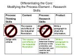 differentiating the core modifying the process element research skills