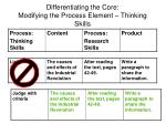 differentiating the core modifying the process element thinking skills