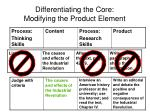 differentiating the core modifying the product element
